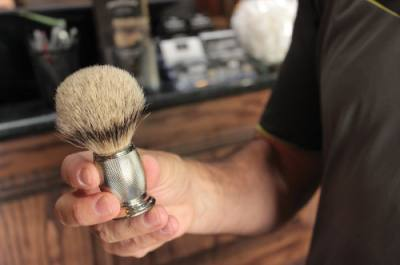 A shaving brush helps to properly lather shaving cream on customersu2019 faces. The Boardroom Salon For Men is located in Southlake Town Square at 1260 Main St., Southlake.