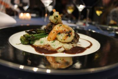 Tre Wilcox made an English pea risotto with seared beef and shrimp with veggies and balsamic vinegar.