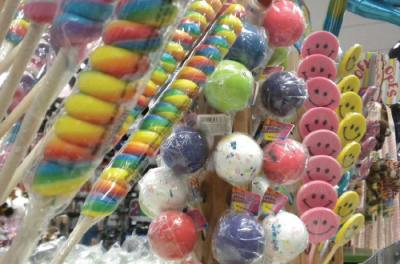 Customers can choose from a range of colorful candy treats like these giant lollipops..