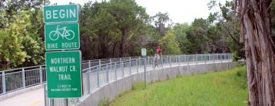 The Northern Walnut Creek Trail runs 3.2 miles between Walnut Creek Metropolitan Park and MoPac near Balcones District Park.