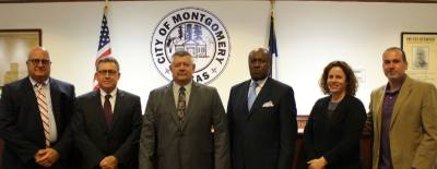The 2017-18 Montgomery City Council from left: Jon Bickford, John Champagne, Mayor Kirk Jones, T.J. Wilkerson, Rebecca Huss and Dave McCorquodale