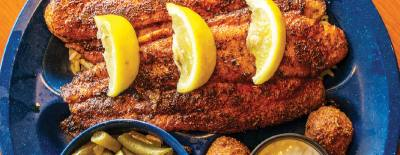 The blackened catfish dinner ($10.99) includes two catfish fillets and green beans.