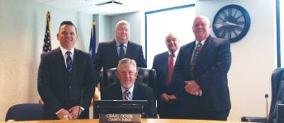 The Montgomery County Commissioners Court, from left: nJames Noack, Jim Clark, Judge Craig Doyal, Mike Meador and Charlie Riley