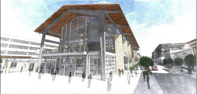 Legacy Hall, a three-story food hall, is expected to open in September or October.