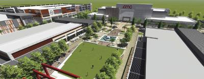 MetroPark Square, Shenandoahu2019s upcoming mixed-use development east of I-45, will feature retail, dining and office space as well as hotels and multifamily units. The first anchor, AMC-10, will open this fall.