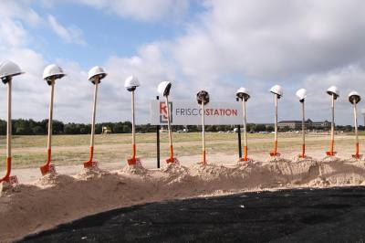 Shovels are lined up for Frisco Station's groundbreaking in 2016.