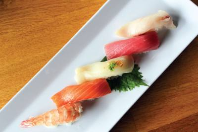 All you can eat on Fridays and Saturdays: For $29 diners can enjoy sushi and yakitori from 4-11 p.m. Try owner Benny Leungu2019s favorite, the Warehouse District roll with salmon, tuna, avocado and masago, or fish eggs.