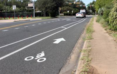 Jones Road improvements include on-street protected bicycle lanes, pedestrian refuge islands, ramps, and a shared-use path for pedestrians and bicyclists to Sunset Valley Elementary School.