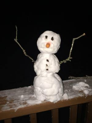 Central Texas snowman