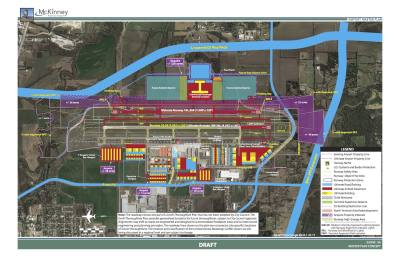 The proposed master plan for the McKinney National Airport offers two build-out plans. This one shows what build-out would look like if land surrounding the airport is acquired by the city.