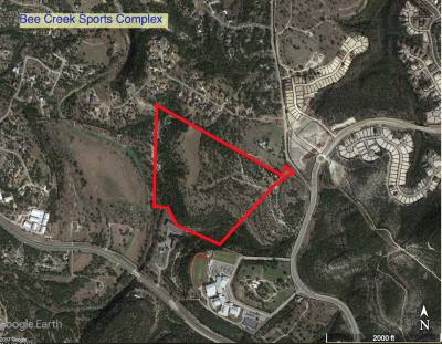 The red border indicates where the 70-acre Bee Creek Sports Complex is slated to go. It is located at Bee Creek Road and Highlands Bvld., in western Travis County.