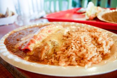 Mexican plate ($8.99) Includes one tamale and one enchilada with choice of beef, pork or chicken as well as one crispy taco, rice and beans