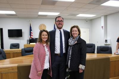Cameron Goodman, pictured with Mayor Evalyn Moore [right] and City Manager Terri Vela [left] is the new executive director for the City of Richmond Development Corporation.