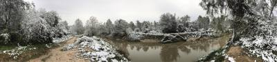 A panoramic view of Cypress Creek after a light snow.