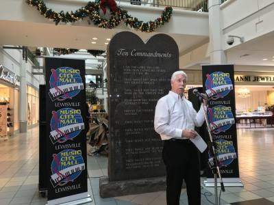 A Ten Commandments monument was unveiled at Music City Mall Lewisville on Dec. 29.
