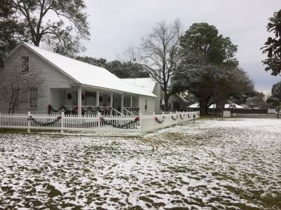 Snow blanketed the ground Friday morning, Dec. 8, at the Tomball Museum Center at 510 N. Pine St.