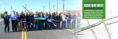 A ribbon cutting for Hero Way West was held Nov. 20 with representatives from the city, county and business community.