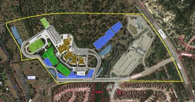 This image shows the layout of proposed Middle School No. 3 in Bee Cave's extraterritorial jurisdiction.