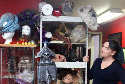 Meredith Johns, co-owner of Northwest Austin based special effects make up studio, Hawglfy Productions, creates molds and props for film and commercial productions.