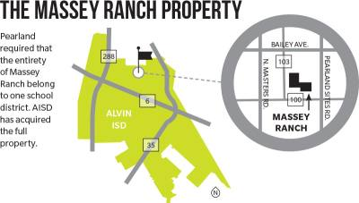 Pearland required that the entirety of Massey Ranch belong to one school district. AISD has acquired the full property.