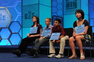 Contestants participate in a former Scripps National Spelling Bee.