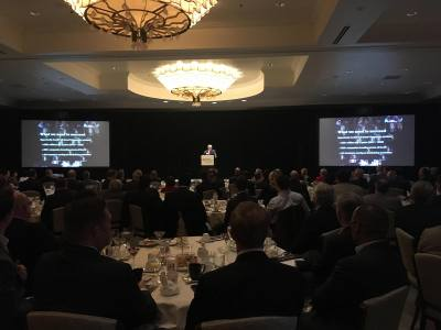 Gary Farmer, 2018 chair of Opportunity Austin 4.0, speaks at the Greater Austin Chamber of Commerce's quarterly investors meeting on Dec. 13.