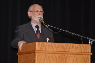 Robert Marrs shares stories of his time working at Campbell Middle School at the schoolu2019s 40-year anniversary ceremony Jan. 25. Marrs helped open the campus in 1978 and is the only remaining original staff member.