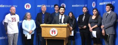 Council Member Greg Casar (center) sponsored an ordinance that would require private employers in Austin to offer paid sick leave.