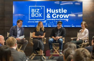 Panel moderator Tom Foster of Inc. Magazine with speakers Tyler Haney of Outdoor Voices, Miguel Garza of Siete Family Foods and Katie Forrest of Epic Bar.