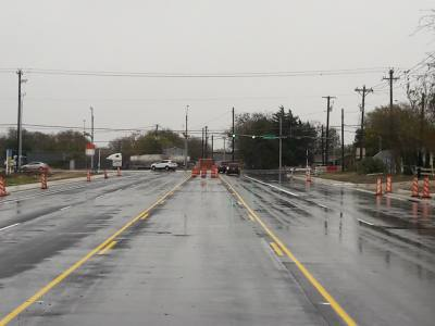 The TxDOT project widened Frate Barker Road in South Austin.