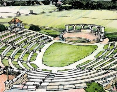 A conceptual rendering shows a proposed amphitheater will be built inside the future Garey Park.