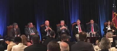 County judges from six Greater Houston-area counties discussed transportation issues at a forum Monday.