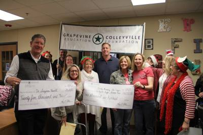 GCISD staff and Education Foundation members present checks to deserving students and teachers.