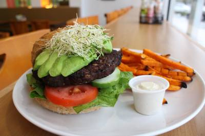 Pure Healthy Eatery offers a Chipotle Bean Burger for $11.