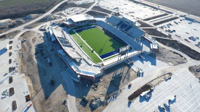 Turf has been laid down on the field, goal posts are installed and half of the scoreboard is up, according to a school board meeting Jan. 23.