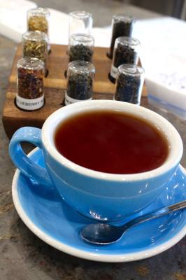 The Blueberry Rooibos tea at Momentum Coffee is available hot or iced.