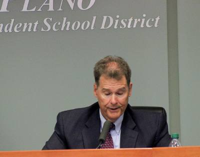 Former Plano ISD Superintendent Brian Binggeli speaks on Nov. 28, the night of his formal resignation.