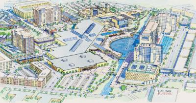 Renderings of the Collin Creek Mall redevelopment plan show a mix of retail, residential and entertainment uses.