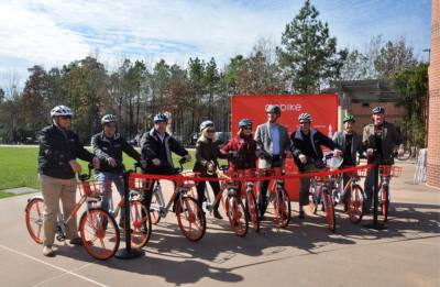 Mobike, a bike sharing program, launched in The Woodlands Jan. 5.