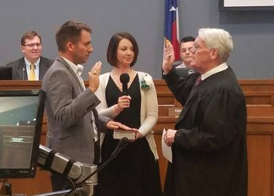 Shane Hines takes the oath to fill the District 1 New Braunfels City Council seat at the Council's regular meeting Feb. 26. On June 4, Hines will host his first citizen forum for the district since taking office.