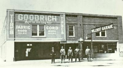 The original Willhoite Garage owners take a photo outside the garage in the 1920s.