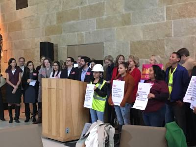 District 4 Council Member Greg Casar spoke at a press conference in February 2018 about his paid sick leave ordinance.