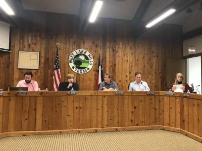 Mayor Linda Anthony discusses West Lake Hill's firearms ordinance Wednesday, Feb. 14, with Council Members Brian Plunkett and Darin Walker.