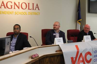 The three Republicann candidates for Montgomery County Precinct 2u2014Greg Parker (left), Brian Dawson and incumbent Charlie Riley (right)u2014answered questions at a forum co-hosted by the Greater Magnolia Parkway Chamber of Commerce and the Voter Awareness Council on Feb. 22.