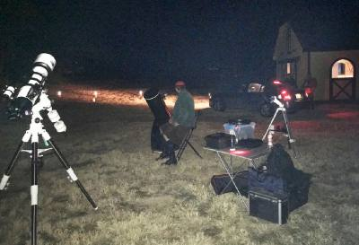 Telescopes were set up to allow eventgoers to look into the night sky.