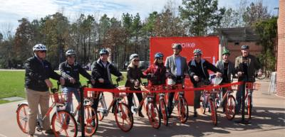 Mobike is an example of a dockless bike share company that San Marcos and Texas State University want to be operating in the area. Mobike was recently approved in The Woodlands Town Center.