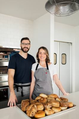 Husband-and-wife team Chris Cunningham and Ali White named their bagel shop Nervous Charlie's after their dog.