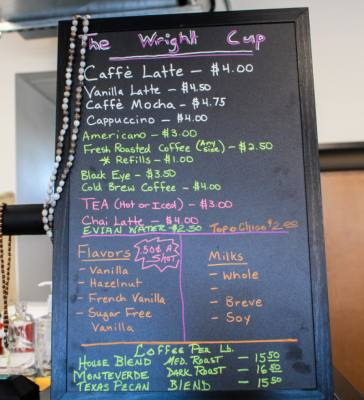 The coffee at Wrightu2019s Emporium comes from Texas Coffee Traders.