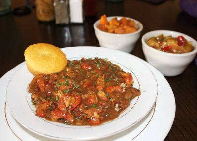 Crawfish etouffee ($13.75) This spicy sauced dish consists of crawfish and is served over rice.