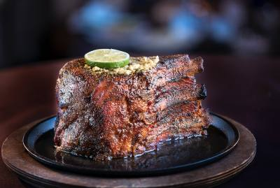 The Perry's Famous Pork Chop is a popular entree at Perry's Steakhouse & Grille.